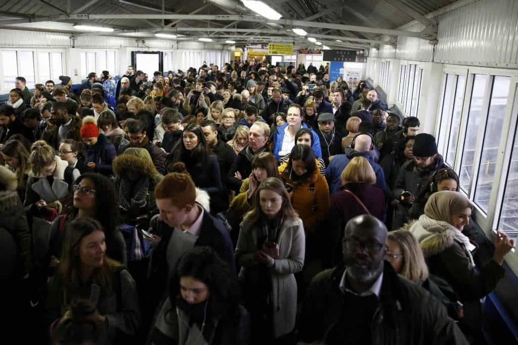 Crowded tube station platform