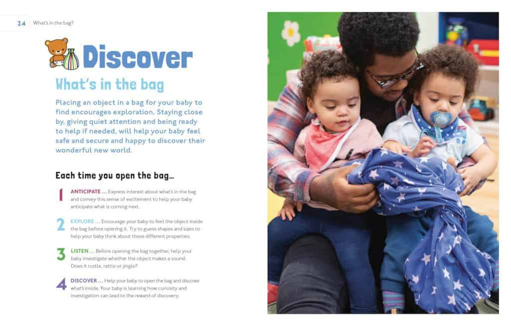 inside the book play and learn with your baby- pages Whats in the bag