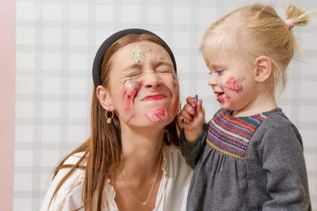 Face painting with kids
