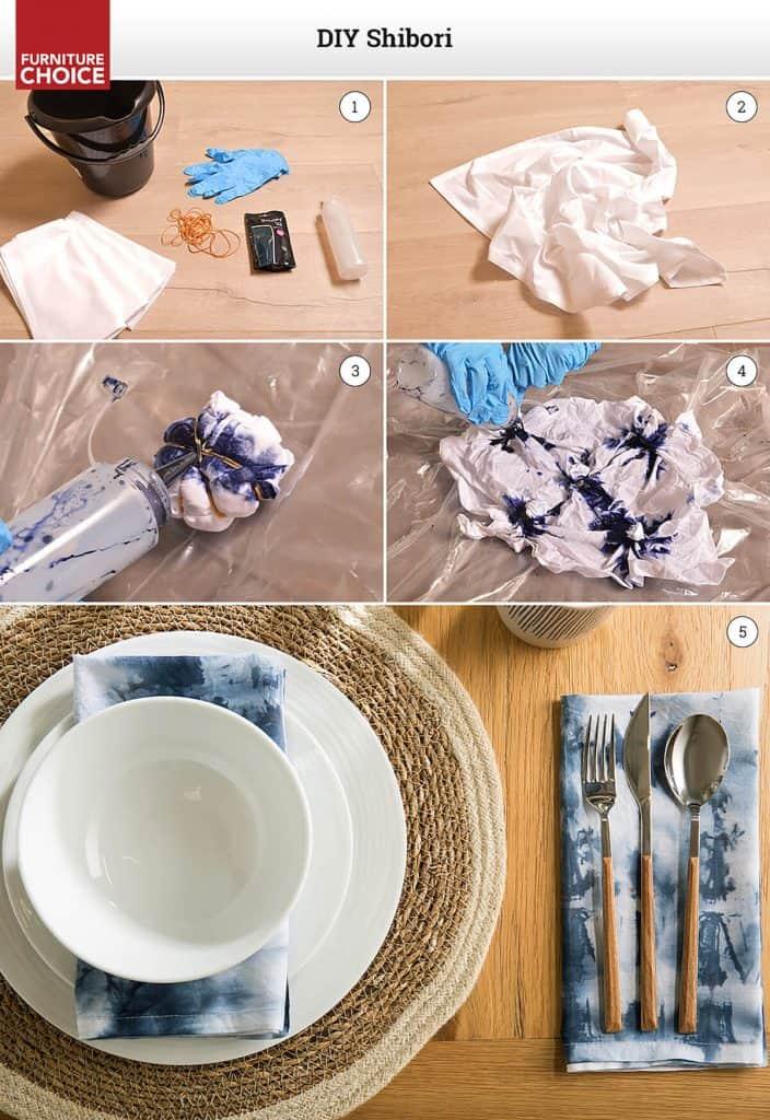 how to make Shibori tie-dye napkins