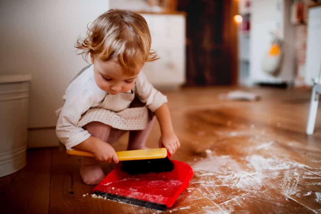 even toddlers can help with chores