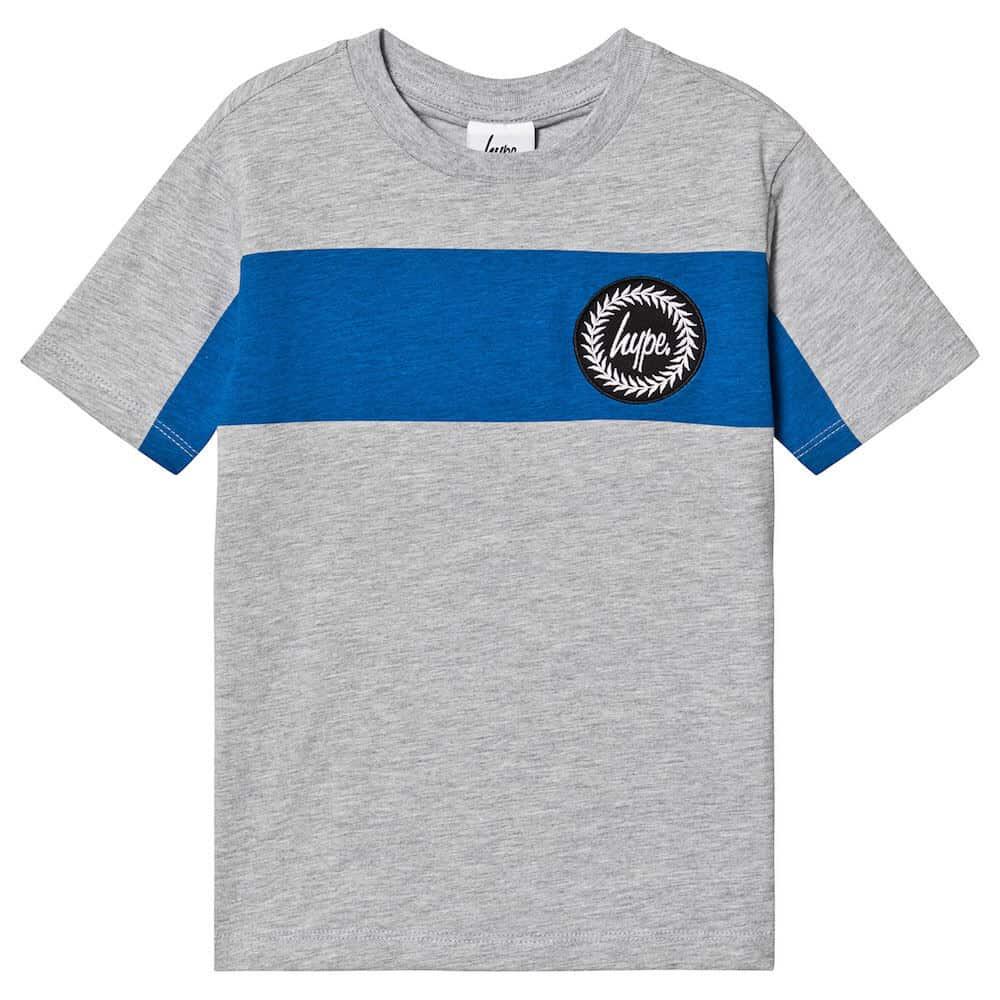 Hype Grey & Blue Stripe Union T-Shirt
