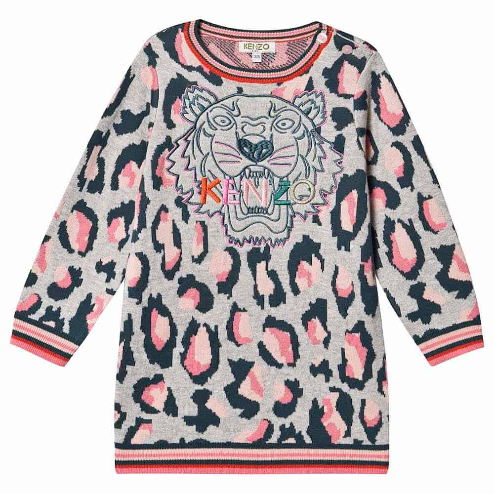 Kenzo Kids Grey Leopard Kenzo Tiger Knit Dress